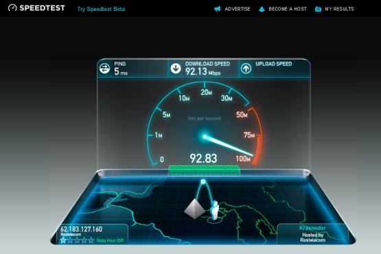Определение скорости интернета speedtest